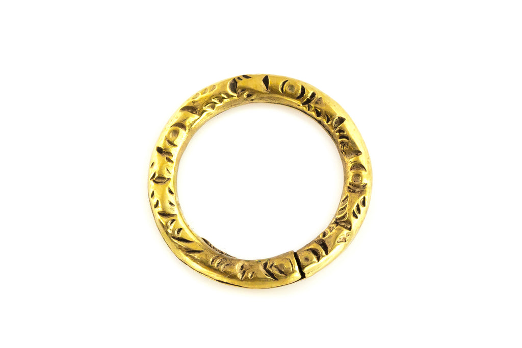 Antique Georgian 15ct Gold Split Ring - (1.5cm) c.1820