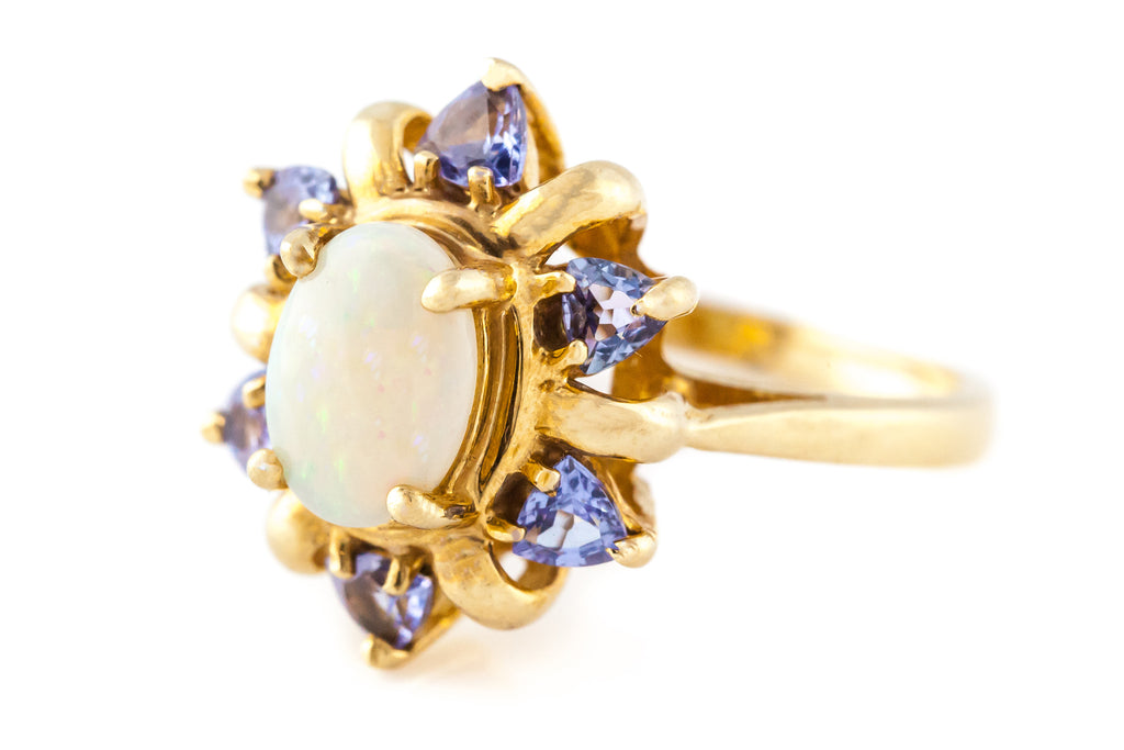 14ct Gold Tanzanite & Opal Cluster Ring