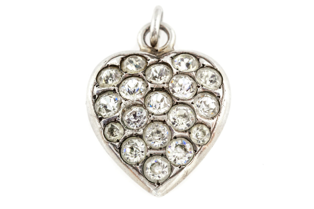 Antique Victorian Silver Paste Heart Charm Pendant -c.1900