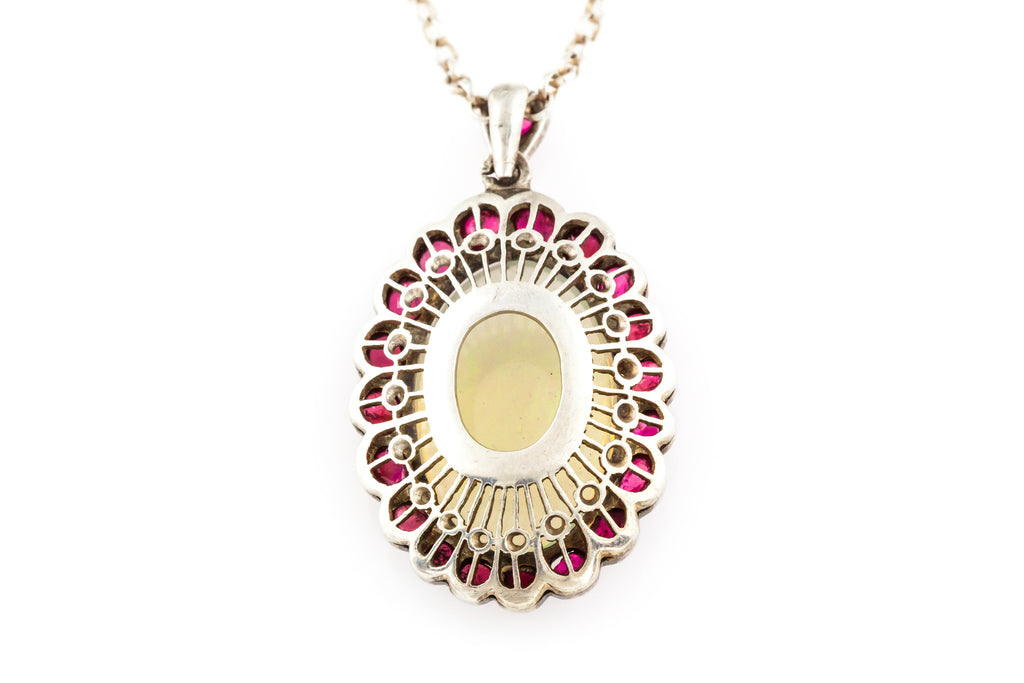Art Deco Opal & Ruby Pendant (4.72ct Opal) c.1930