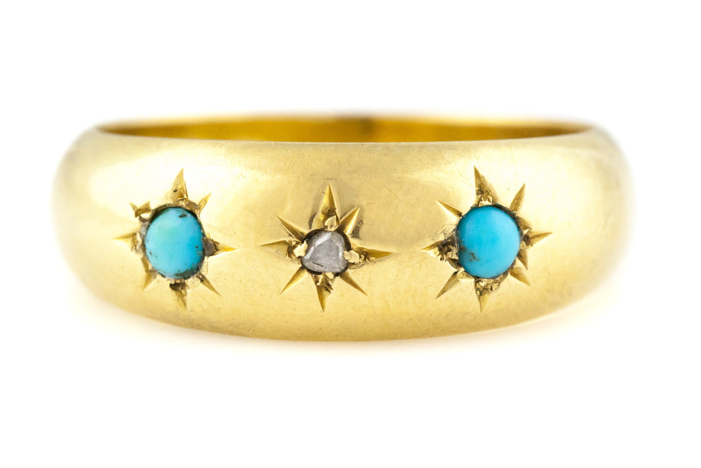 "18ct Gold Victorian Turquoise and Diamond ""Gypsy""Ring  c.1899"