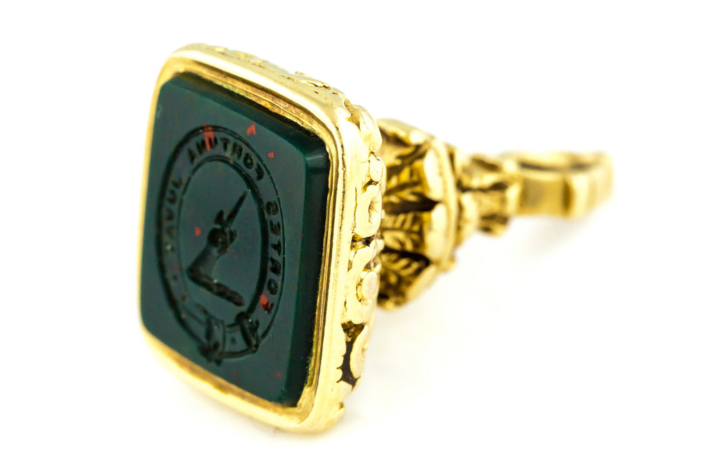 "9ct Gold Georgian Fob Pendant - ""Fortune Favours the Brave"" c.1820"