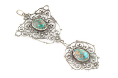 "RESERVED for ""A""! -Antique Filigree Silver Turquoise Drop Pendant c.1900"