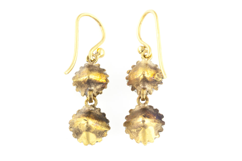 Antique Paste Drop Earrings with 9ct Gold Hooks c.1880