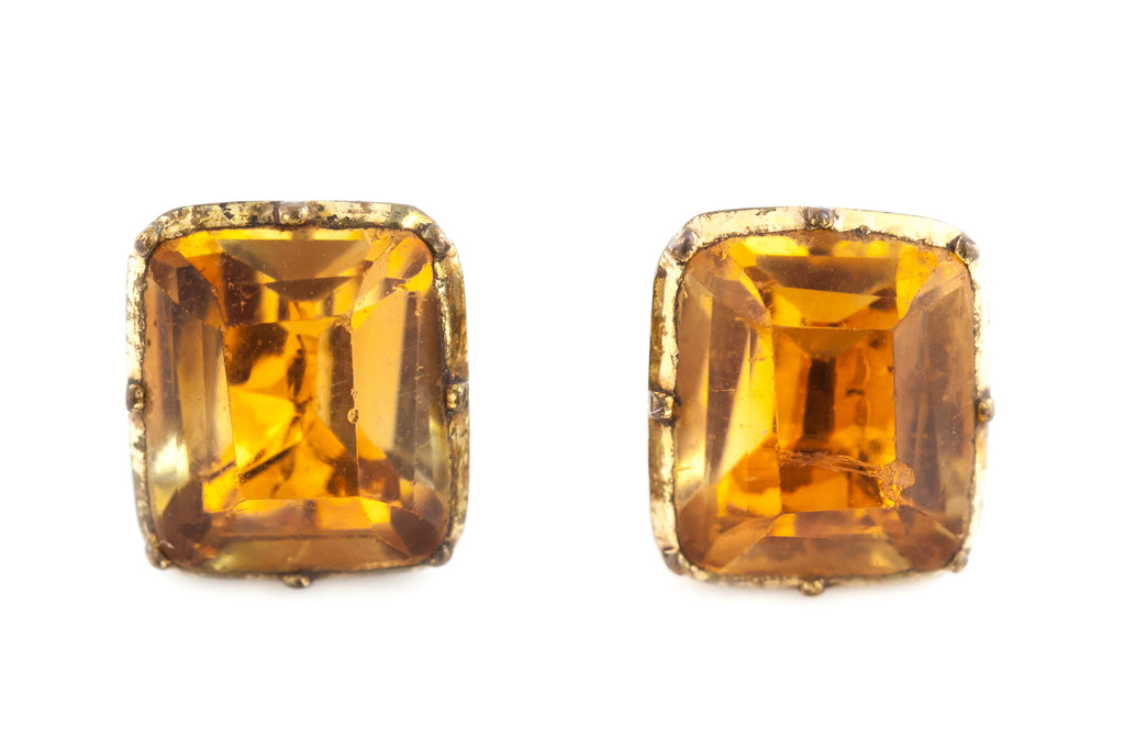 Imperial Topaz Georgian Paste Earrings c.1820
