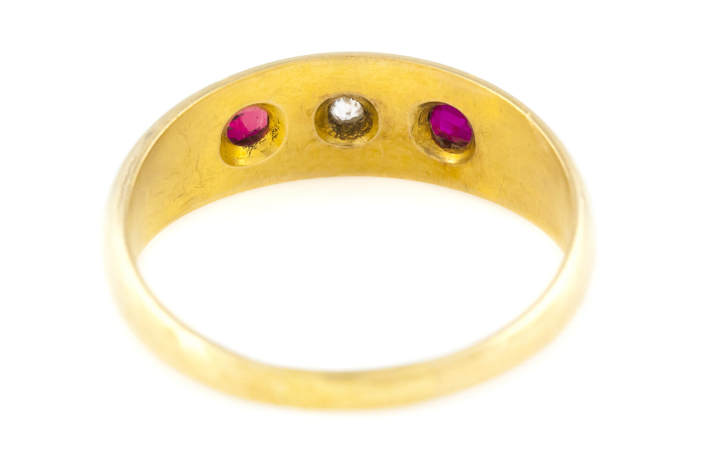 "Antique Ruby Diamond ""Gypsy"" Ring c.1900"
