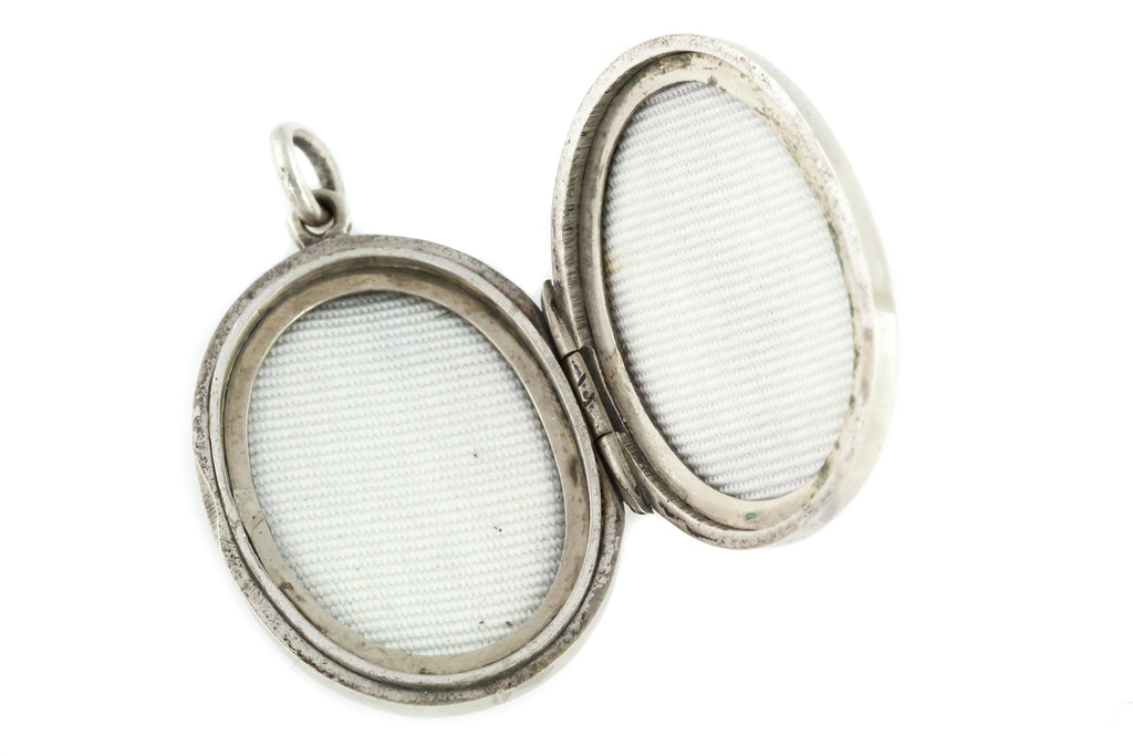 Small Victorian Aesthetic Double-sided Silver Locket