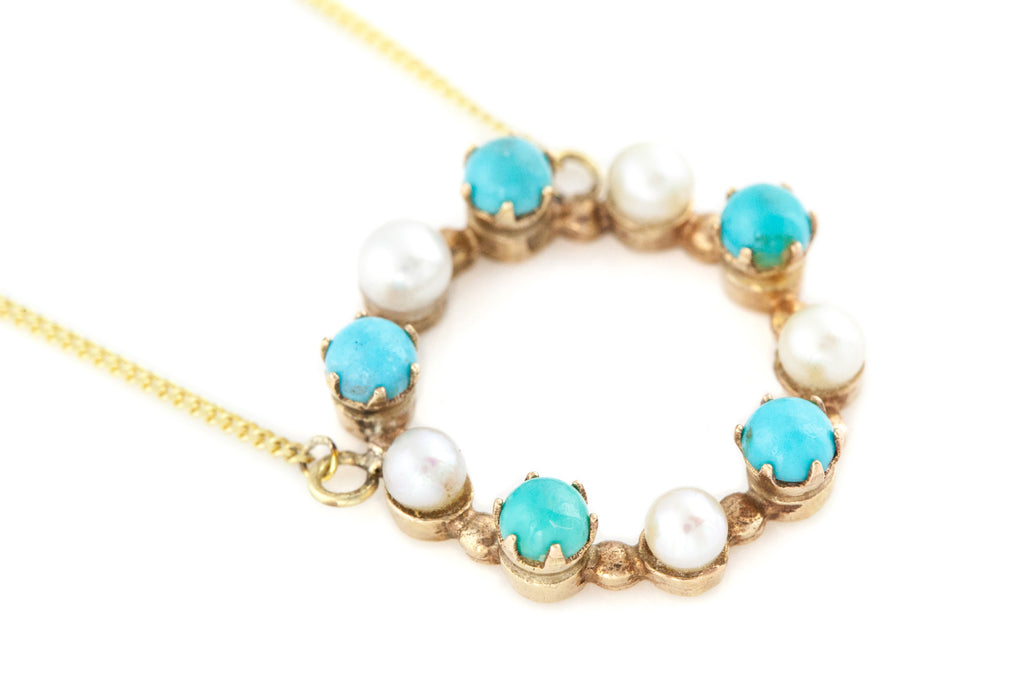 9ct Gold Turquoise & Pearl Necklace