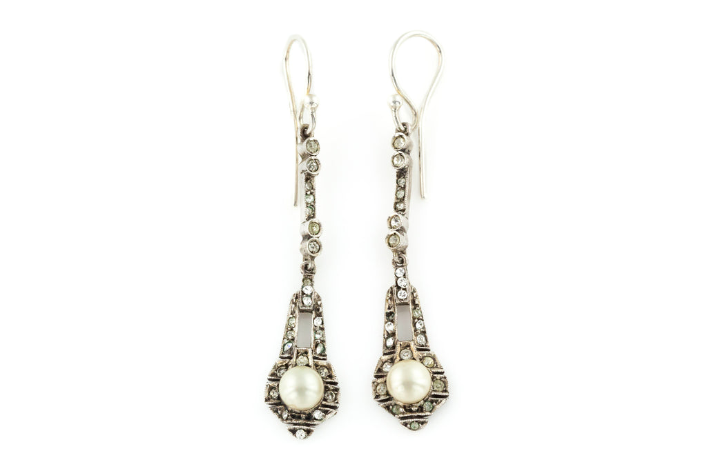 Art Deco Silver Paste Drop Earrings c.1920