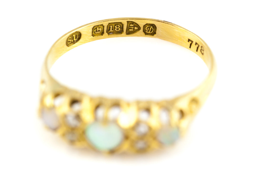 Antique Edwardian Opal, Diamond & 18ct Gold Ring c.1904