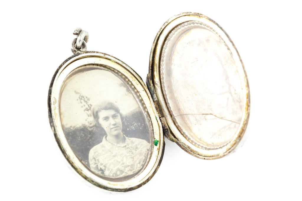 Antique Victorian Silver Locket with Sweet Rose c.1880