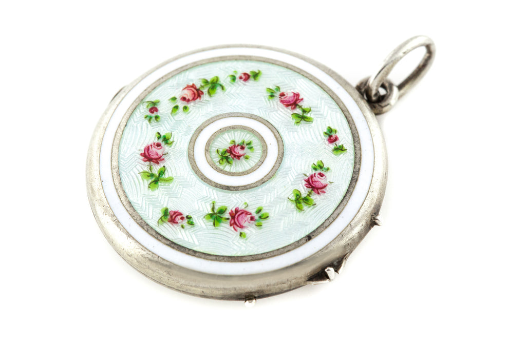 Art Nouveau Enamel Rose Locket