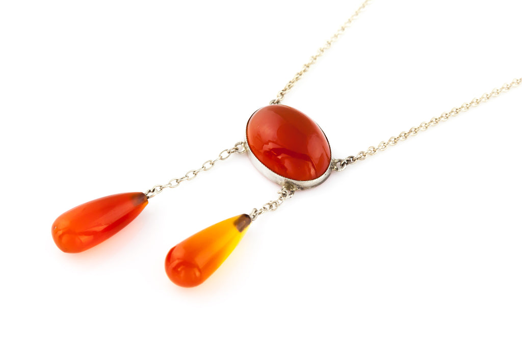 Arts & Crafts Era Antique Carnelian Drop Necklace c.1900