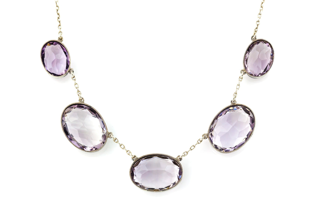 Antique Silver & Amethyst Necklace c.1900