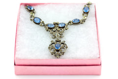 French Antique Blue Paste Necklace c.1900