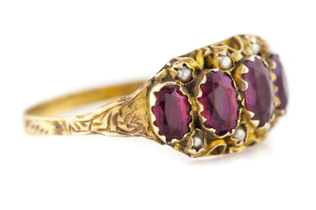 Antique 9ct Gold Garnet and Pearl Ring c.1907