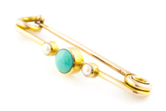 Edwardian Gold Brooch with Turquoise and Pearls