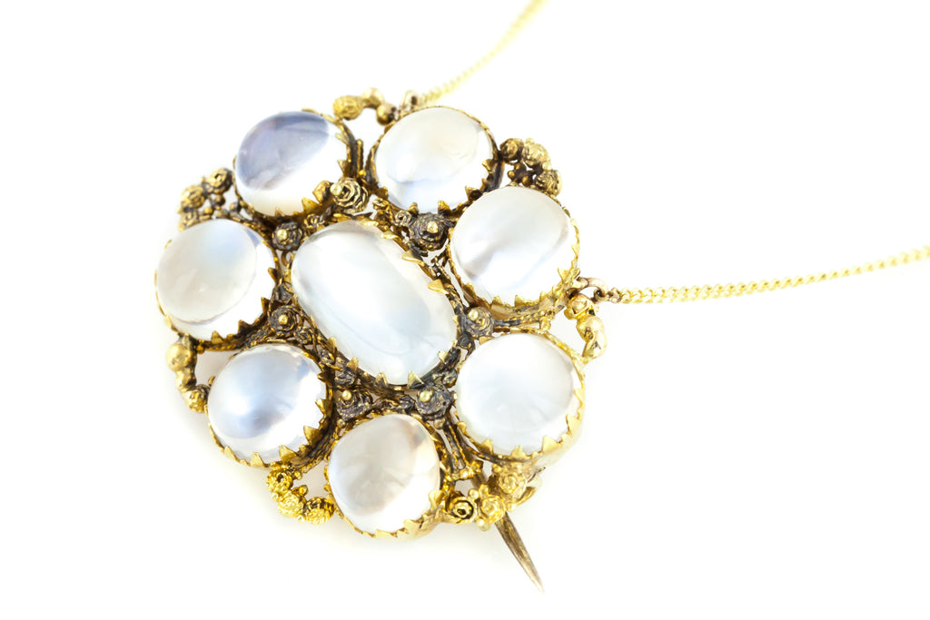 18ct Gold Antique Moonstone Necklace