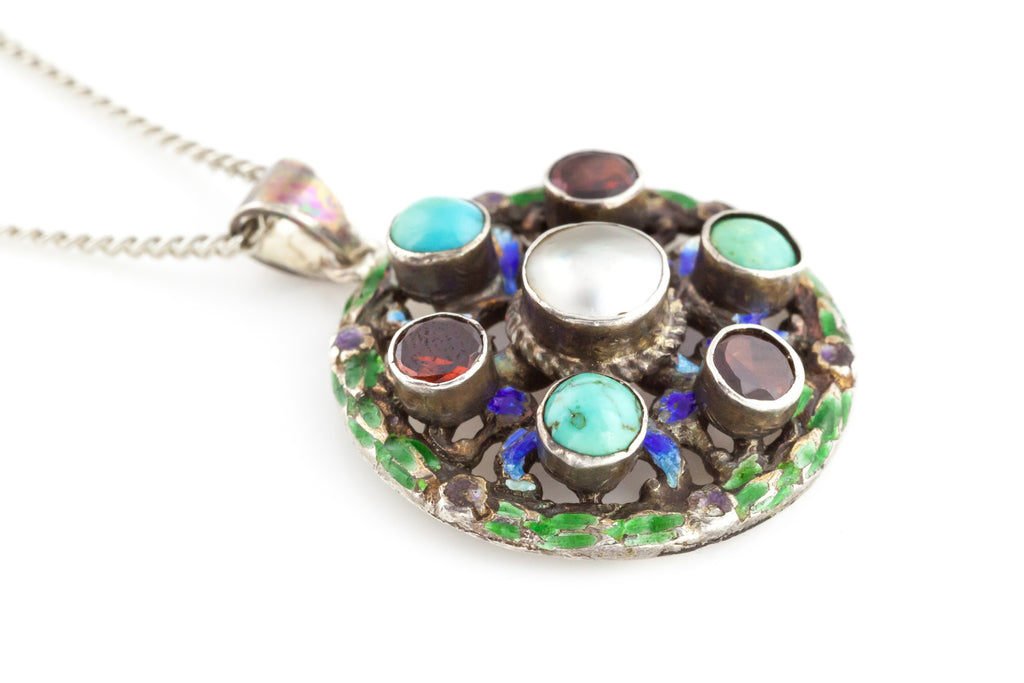 Austro-Hungarian Silver Pendant with Garnet, Turquoise and Enamel c.1890