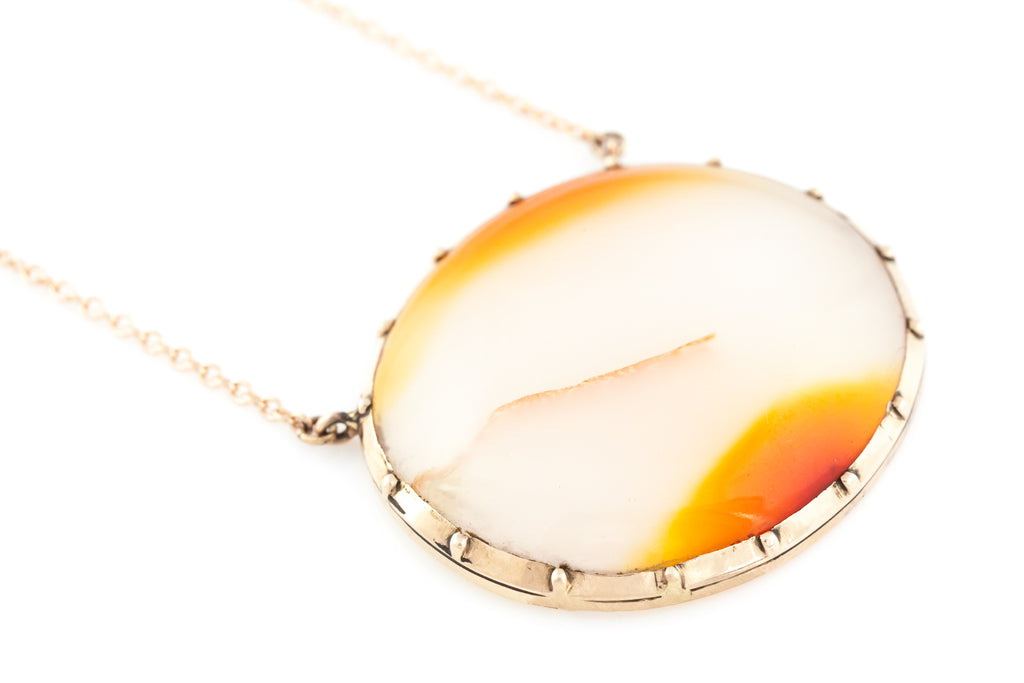 Rose Gold Georgian Agate Necklace c.1820