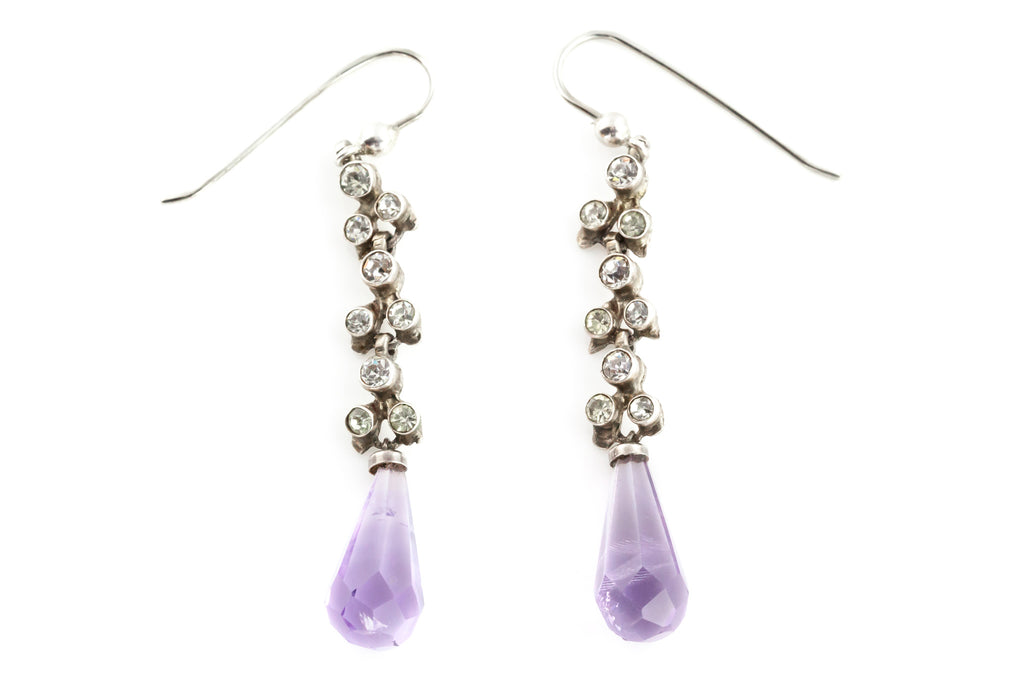 Antique Paste Earrings with Natural Amethysts c.1905