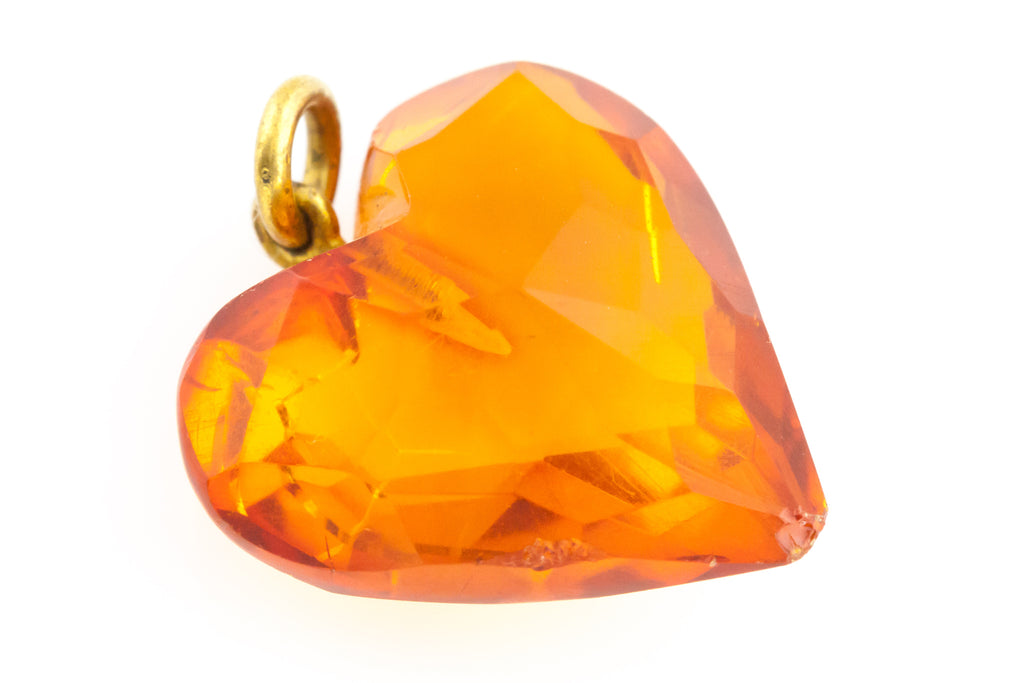 Antique Amber Heart Charm Pendant c.1900