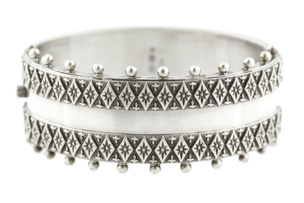 Antique Boho Silver Bangle c.1893
