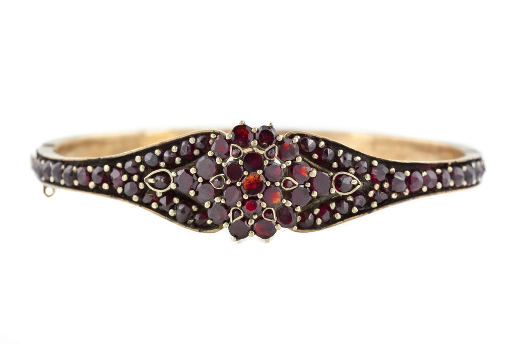 Antique Czech Bohemian Garnet Bangle