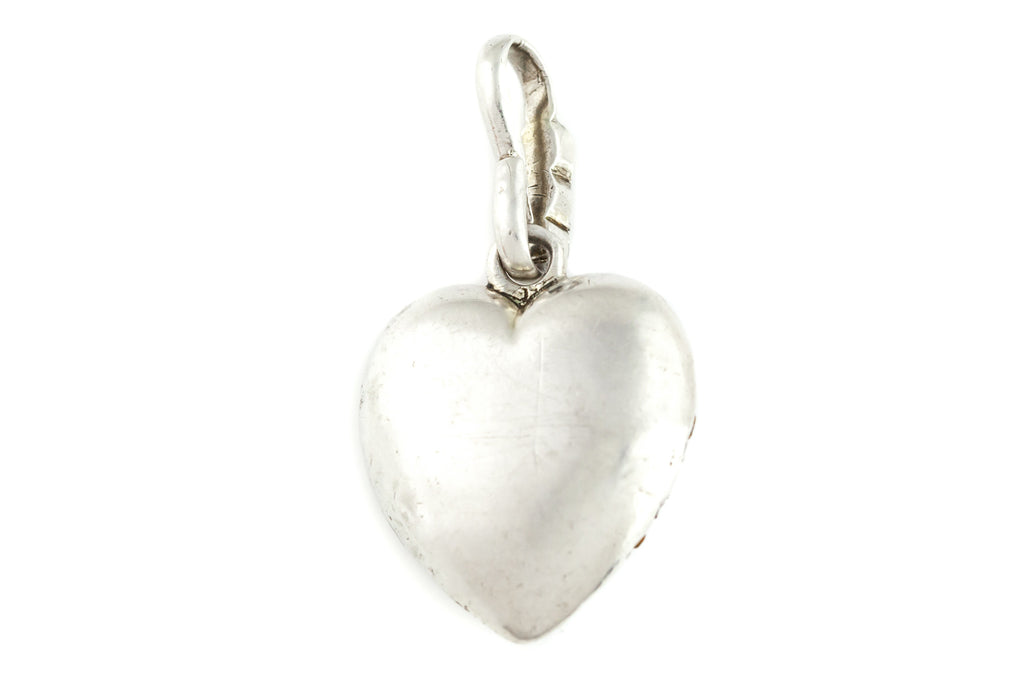 Antique Silver Paste Heart Charm Pendant c.1850
