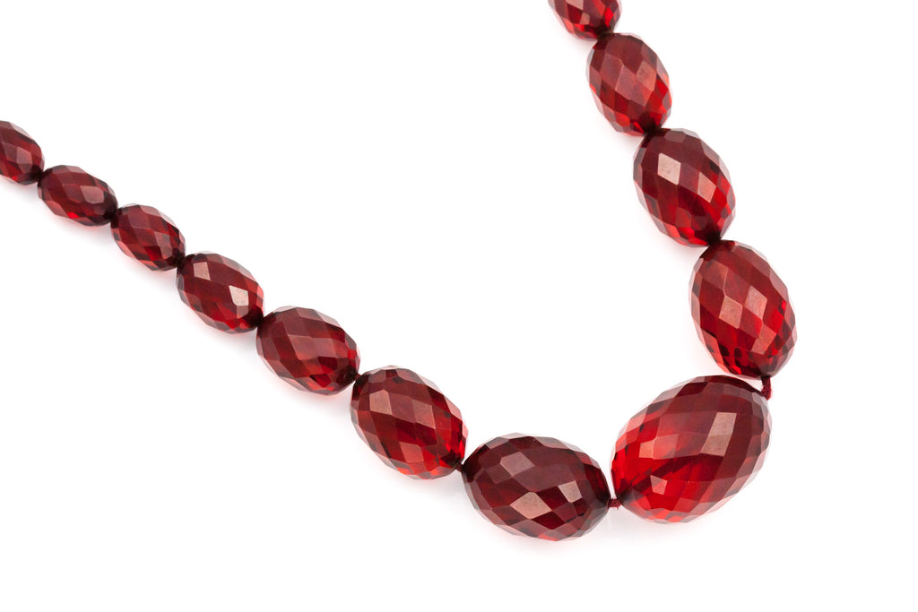 "Vintage Cherry Amber Necklace (28"") c.1920"