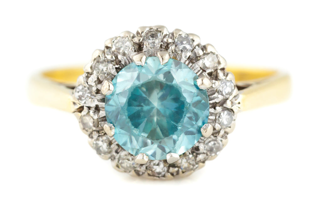 Antique Zircon Diamond Cluster Ring (2.05ct Zircon)