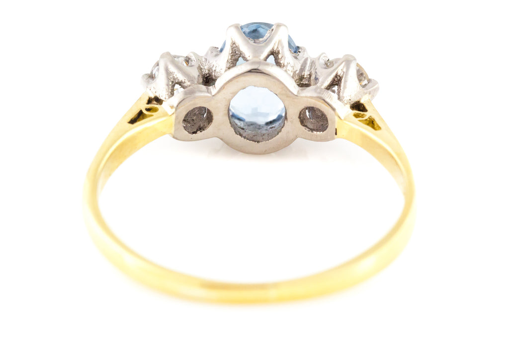 Art Deco 18ct Gold Aquamarine & Diamond Trilogy Ring c.1920