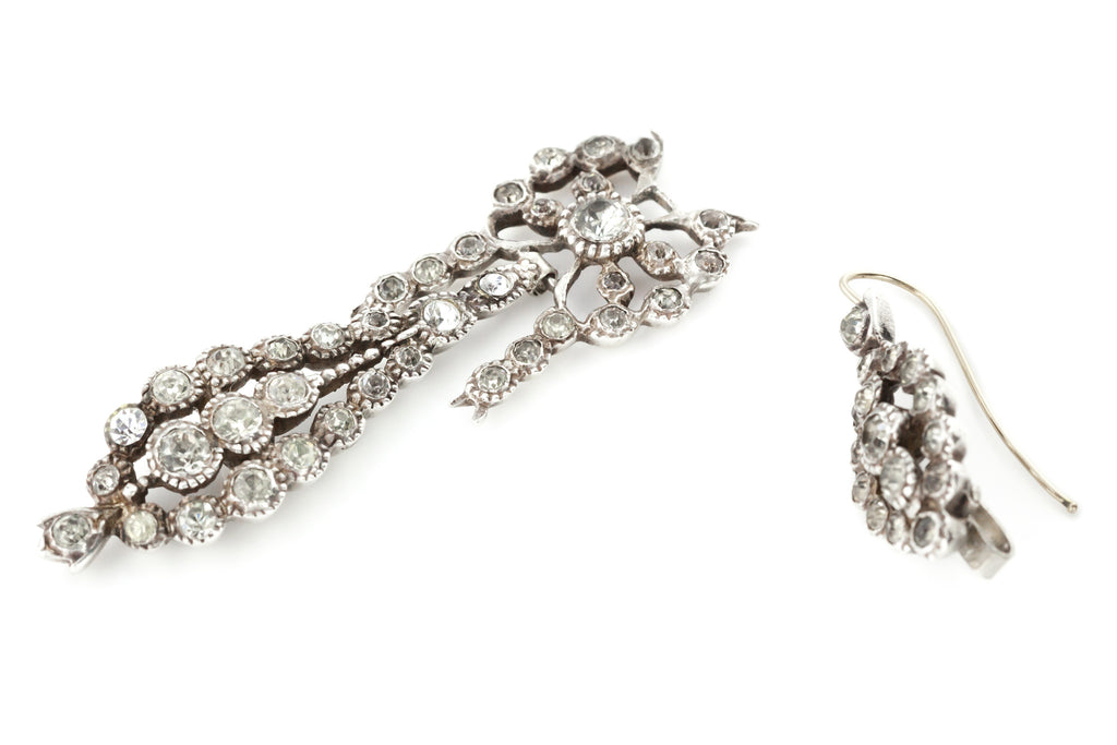 Antique French Paste Long Day and Night Drop Earrings
