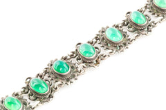 Arts and Crafts Era Green Chalcedony Bracelet - Antique Chrysoprase Bracelet