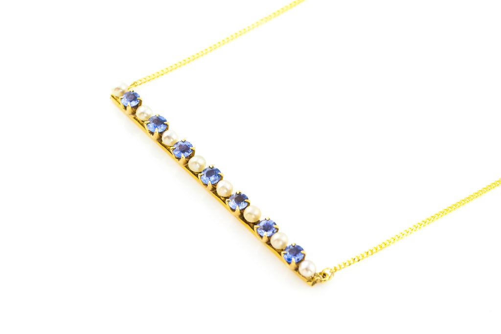 Edwardian Sapphire and Pearl 15ct Gold Necklace