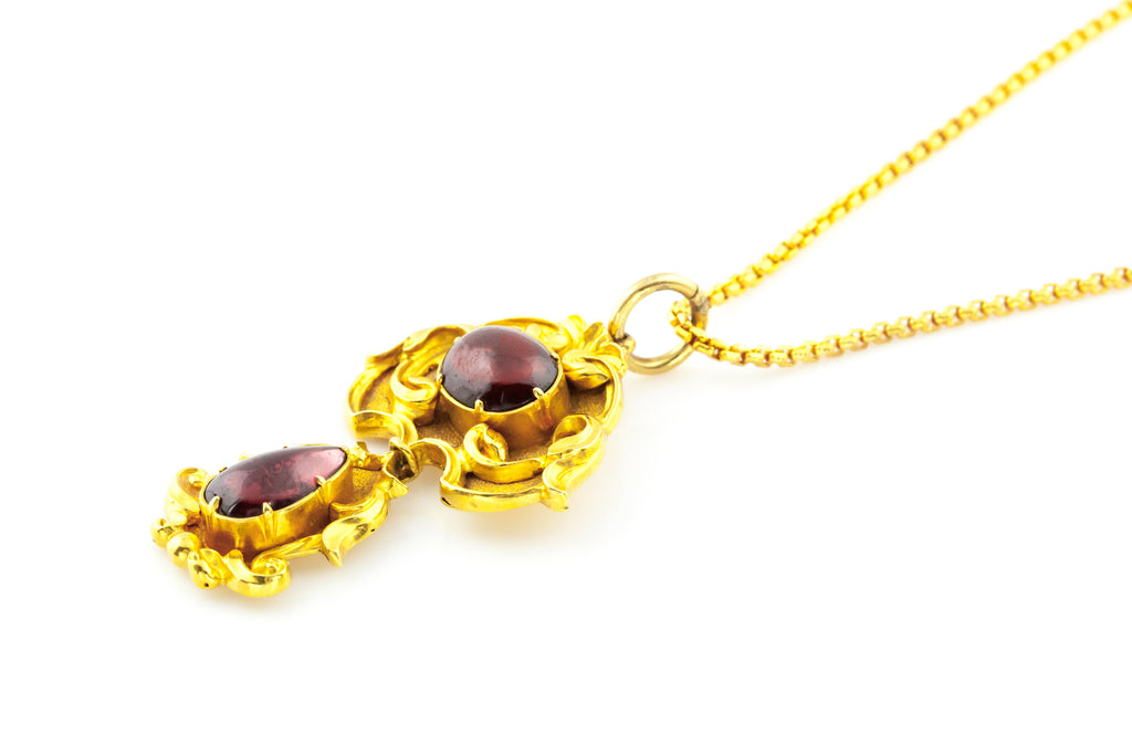 Victorian Garnet Pendant with Chain & Rare Shell-Shaped Clasp c.1850