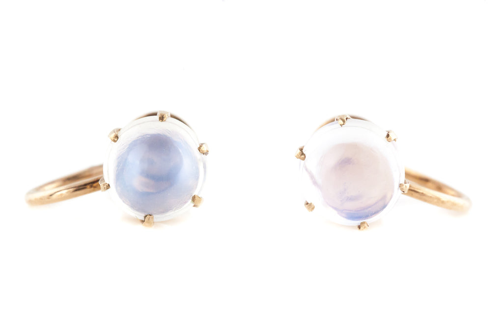 Antique Moonstone Earrings on 9ct Rose Gold c.1900
