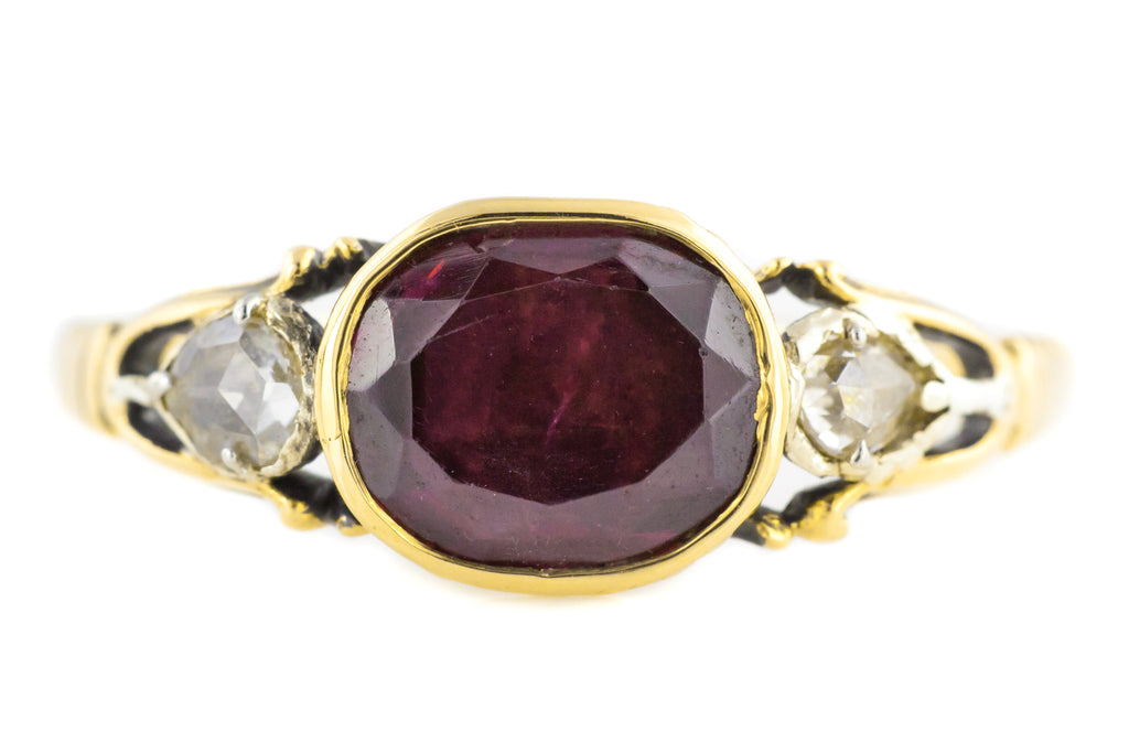 18ct Gold Georgian Garnet & Diamond Ring