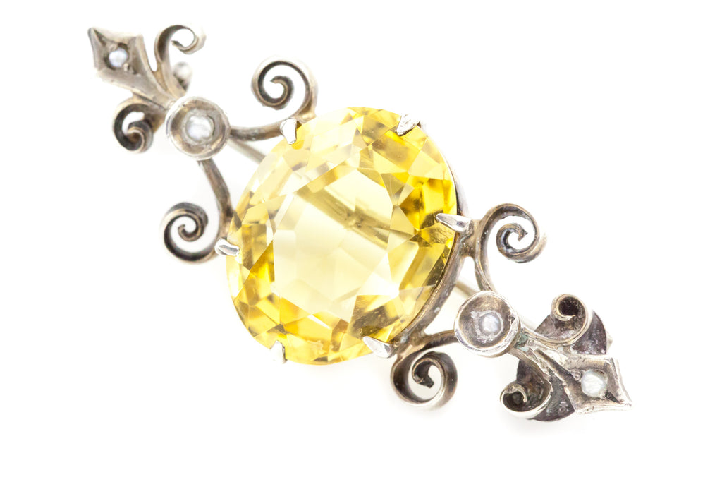 Antique Silver Citrine Brooch