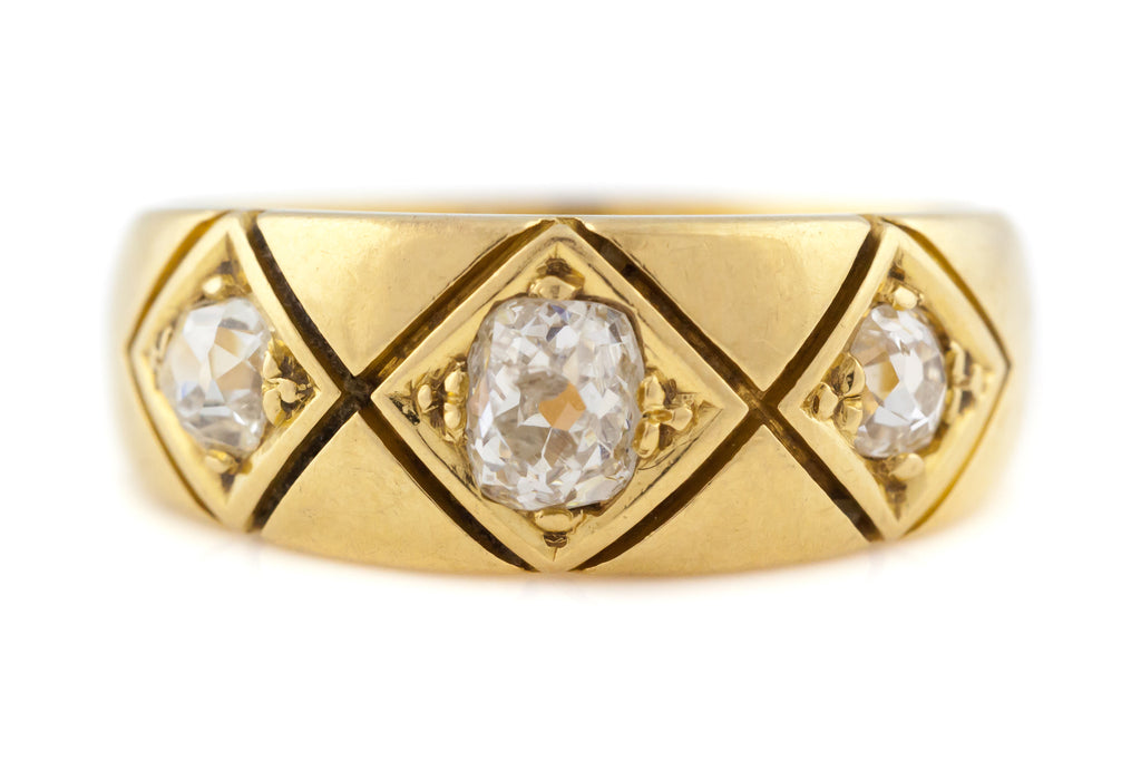 Antique Old Mine Cut Diamond Trilogy Ring (0.55ct)