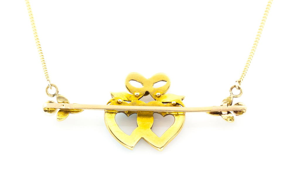 15ct Gold Victorian Double Heart Necklace c.1890