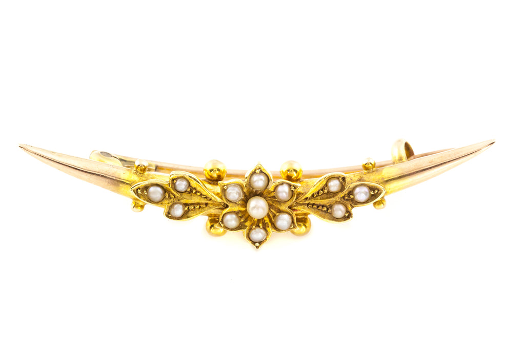 15ct Gold Edwardian Pearl Brooch