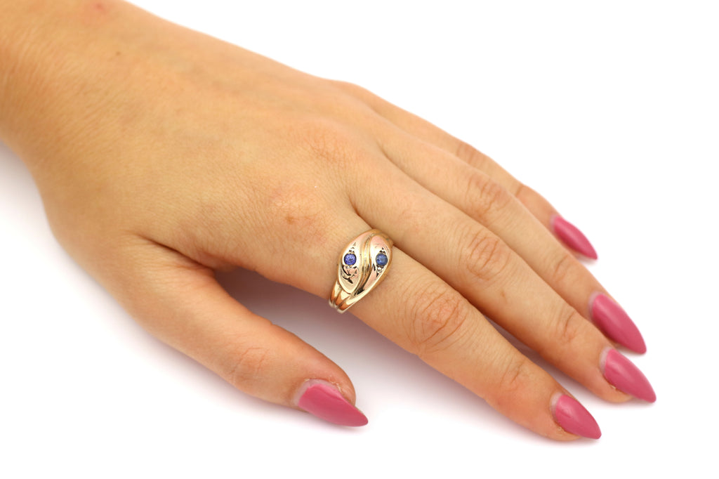 9ct Gold Vintage Snake Ring With Sapphires - Gold Double Snake Ring