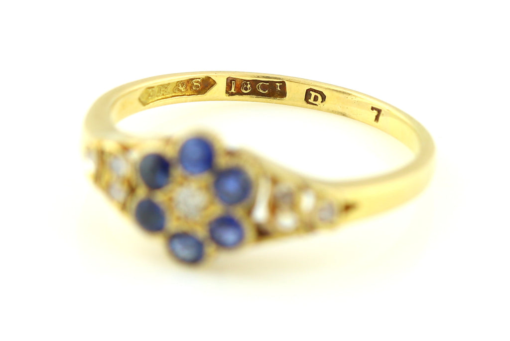 Antique Diamond and Sapphire Cluster Ring c.1900