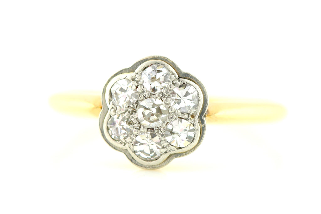 Edwardian 18ct Gold and Platinum Seven Stone Diamond Cluster Ring