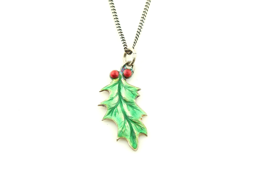 Antique Holly Leaf Charm Pendant & Chain c.1900