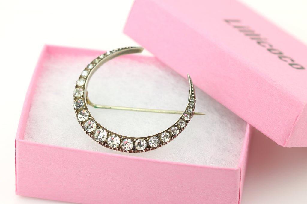 Antique French Crescent Moon Brooch