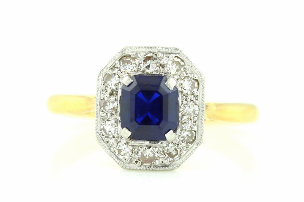 Art Deco Sapphire Diamond Cluster Ring in 18ct Gold and Platinum