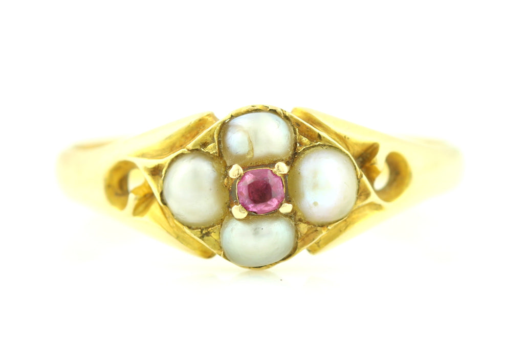 Victorian 18ct Gold Ruby and Pearl Cluster Ring c.1840