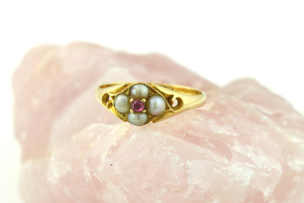 18ct Gold Ruby Pearl Flower Ring c.1840